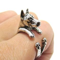 3D Doberman Pinscher Dog Shaped Animal Wrap Ring in Shiny Silver | Sizes 5 to 9
