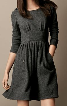 Burberry Brit Gathered Wool Dress in Gray (mid grey melange) Casual Dresses, Fashion Dresses, Dresses For Work, Casual Wear, Tights Outfit Winter, Winter Dresses With Boots, Autumn Dresses, Burberry Dress, Burberry Brit