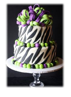 Purple And Green Zebra Striped Cake (my favorite colors  zebra stripes