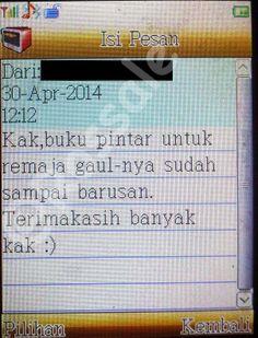 SMS konfirmasi dari pelanggan bahwa barang telah tiba di tangannya