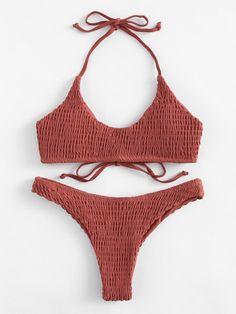 Swimwear by BORNTOWEAR. Shirred Halter Bikini Set #swimwear#bikini#beach#style