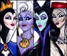 Hayden Williams Disney Villains Maleficent, Cruella deVil, Ursula, The Evil Queen Walt Disney, Disney Love, Disney Magic, Disney Art, Disney Pixar, Deviant Art, Disney Villains Art, Disney Characters, Disney Villian