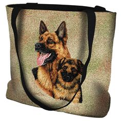 German Shepherd Dog and Puppy Portrait Tote Bag