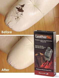 LeatherNu Repair Kit - Re-dye, repair or restore worn, stained, discolored or torn leather.