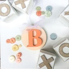 Peach/coral wooden hanging letter for baby by RaphasRoom on Etsy