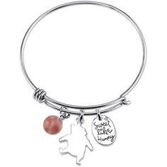 Disney Winnie the Pooh Women's Stainless Steel Sweet Like Honey and 8mm Cherry Quartz Bead Catch Bangle Bracelet (as of 2/9/2016)