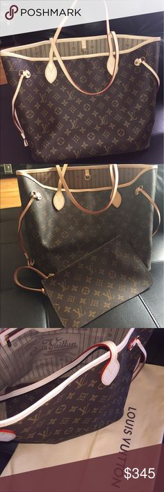 Neverfull MM Monogram Worn bag well taken cared worn as a everyday work bag the bag is clean and free of perfume selling with the pouch and DustB all together Louis Vuitton Bags Shoulder Bags