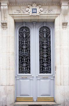 Paris Photography - Blue Grey Door   ..rh