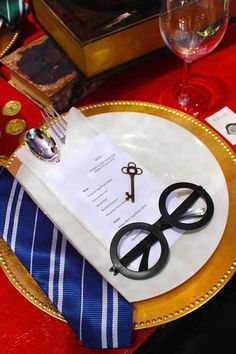 Place setting from Gryffindor Harry Potter Birthday Party at Kara's Party Ideas. See over 50 pictures at karaspartyideas.com!