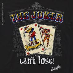 """JOKER Camiseta con diseño inspirado en el personaje """"The Joker"""" de los cómics de Batman. En ella se aprecian dos cartas antiguas y desgastadas con la figura del Joker y tras ellas aparece el texto """"Smile"""", """"Why so serious"""" y """"Can't lose"""". www.diablocamisetas.com"""