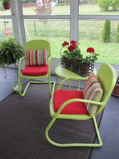 Repainted antique metal patio chairs