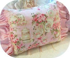 Pink rose fabric pillows, shabby pink pillows, pink decor, vintage china mosaics     www.RomancingTheRoseStudio.com ©Website Design by: OneSpringStreet.NET 2011