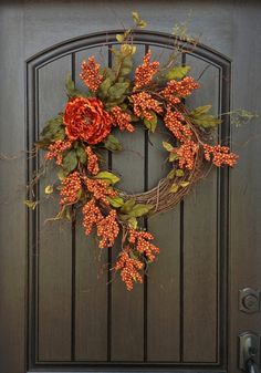 "Fall Wreath Autumn Thanksgiving Orange Berry Twig Grapevine Door Wreath Decor ""…"