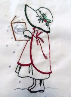 ♒ Enchanting Embroidery ♒  embroidered christmas carol singer