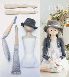 Handmade Dolls Patterns, Doll Sewing Patterns, Doll Clothes Patterns, Sewing Doll Clothes, Doll Clothes Barbie, Sewing Dolls, Doll Crafts, Diy Doll, Homemade Dolls