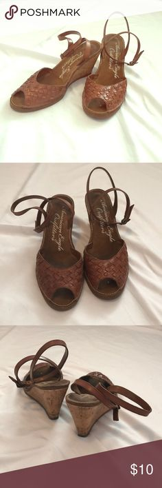 Strappy Basket Weave Wedges Toffee colored, faux leather, cork wedges with wrap around ankle straps. Worn few times, signs of wear inside and bottoms. Priced to sell. American Eagle Outfitters Shoes Wedges