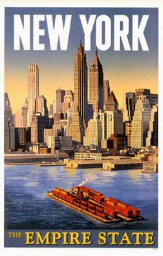 New York   The Empire State   Vintage Travel Poster of America