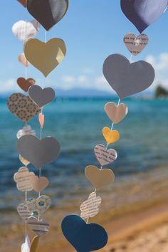 Rustic Vintage Wedding Heart Garland  Party by ZoeysRusticPlace,