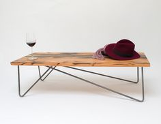 raw maple wood hair pin leg coffee table - Google Search