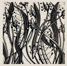 Helen Roddie ~ Ribwort Weave ~ Linocut, 200 x 200 mm