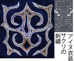 伝統的なアイヌ民族衣装の刺繍;Traditional embroidery of the Ainu people - みんなの写真コミュニティ「フォト蔵」