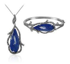 MARC Sterling Silver Lapis Doublet Cubic Zirconia Necklace & Bracelet