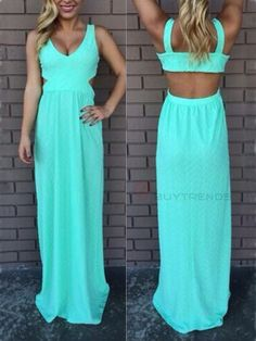 Sexy Low-Cut Backless Pure Color Women's Chiffon Maxi Dres     #buytrends #fashion #style  #dress
