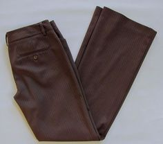 "Express Editor Dress Pants 2 Dark Brown Striped Polyester Stretch Flare Leg 32"" #Express #DressPants"