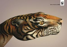 """The WWF """"Give A Hand to Wildlife"""" campaign was developed at Saatchi & Saatchi by Olivier Girard, Jean-Michael Larsen, and Nicolas Poulain, with body painter Guido Daniele."""