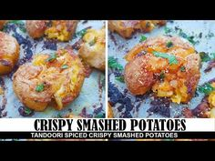 CRISPY SMASHED POTATOES These Ultra Crispy Smashed Potatoes are delightfully crispy from outside and soft and gooey from inside. They are flavored with a del. Vegan Dessert Recipes, Vegan Breakfast Recipes, Vegan Snacks, Vegan Side Dishes, Side Dish Recipes, Food Dishes, Vegan Recipes Videos, Cooking Recipes, Mujadara Recipe