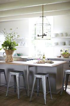 open kitchen with glass lantern light
