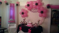 Pink And Black Damask Baby Shower Ideas Marvelous White Polka Dot Decorations With Additional Food W