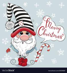 Cute Cartoon Gnome on a blue background. Greeting Christmas card Cute Cartoon Gnome on a blue background vector illustration Christmas Rock, Christmas Gnome, Christmas Crafts, Merry Christmas, Christmas Decorations, Christmas Ornaments, Holiday Decor, Christmas Drawing, Christmas Paintings