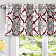 red valance curtains for kitchen windows Valances For Living Room, Living Room Windows, Kitchen Window Curtains, Valance Curtains, Window Valances, Kitchen Windows, Red And Grey Curtains, Balloon Valance, Modern Color Schemes