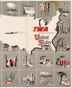 TWA Airlines Flight Map c. 1958. via flickr