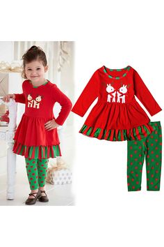 9a7cc28ffc09f Cute Long Sleeve Kids Girls Christmas Reindeer Print Dress Red #Ad Christmas  Suit, Christmas