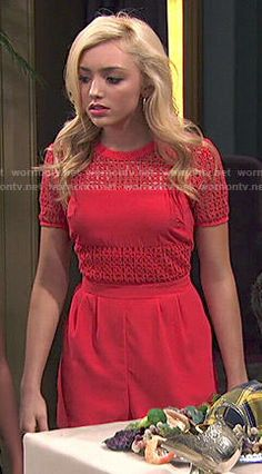 Emma's red eyelet top and shorts on Jessie.  Outfit Details: http://wornontv.net/49145/ #Jessie