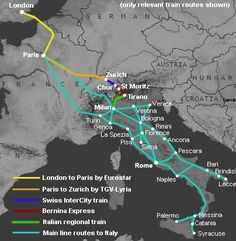 Route map:  London to Bucharest & Romania by train