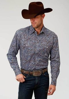 3fa26f1f3 Roper Men s Blue Brown White Paisley L S Snap Shirt. Outback Western Wear