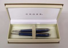 CROSS DUBAI Lacquer Blue Ball Point Pen & Mechanical Pencil Set Original Box NOS