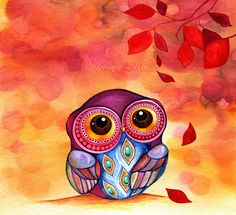 "I've never been on the ""owl"" trend, but this print just made me change my mind!  Gorgeous colors & details in this print.  Owls First Fall Leaves  Fine Art Painting Print  by annya127 - $18 wall art, fall leaves, watercolor paintings, art paintings, big eyes, owl art, leaf art, tattoo, artwork"