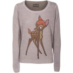 PRINCESS GOES HOLLYWOOD Bambi Knit Taupe Knit sweater with print (985 BRL) ❤ liked on Polyvore featuring tops, sweaters, shirts, long sleeves, slim fit shirts, long sleeve sweater, print shirts, long sleeve knit sweater and long sleeve knit tops