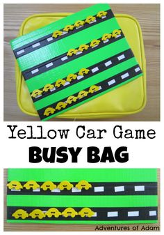 Yellow Car Game Busy Bag | http://adventuresofadam.co.uk/yellow-car-game-busy-bag/