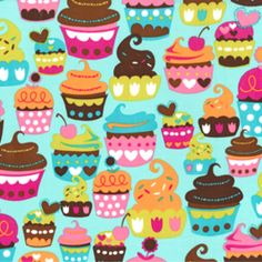Michael Miller House Designer - Mod Prints - Sweet Treats in Turquoise - This is going to be the perfect material for an upcoming gift.