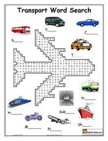 ESL, English vocabulary,Printable worksheets for teaching transport vocabulary