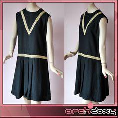 Vintage 1960s Superb Black Wool Dropped Waist Gold Lurex MOD Twiggy Dress #vintage #mod  http://www.ebay.co.uk/itm/Vintage-1960s-Superb-Black-Wool-Dropped-Waist-Gold-Lurex-MOD-Twiggy-Dress-UK12-/281984945324?ssPageName=STRK:MESE:IT
