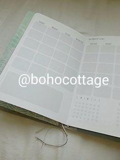 PLAIN MONTH on 2 Pages-STANDARD/Reg size Planner Insert Printable-midori mtn fauxdori calendar booklet traveler's notebook journal (5.00 USD) by BohoCottage