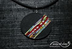 "pendant | polymer clay, caught by the ""Stroppel cane fever"" 