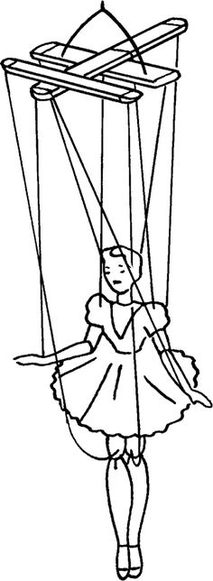 double cross -sketch of Marionette with strings attached to double cross holder