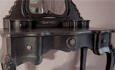 Shabby Chic Black black dressing tables | Black french shabby chic dressing table, mirror, and stool set ...